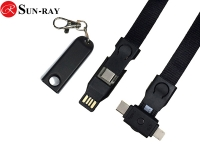 4in1 type c input new polyester lanyard usb charging cable